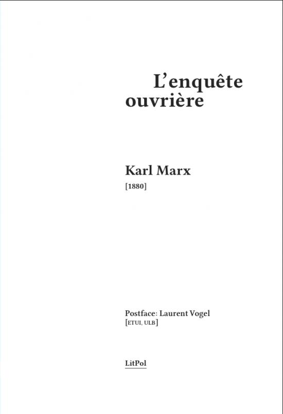 Marx LitPol Enquête ouvrière 1880 Mouvement ouvrier Syndicats